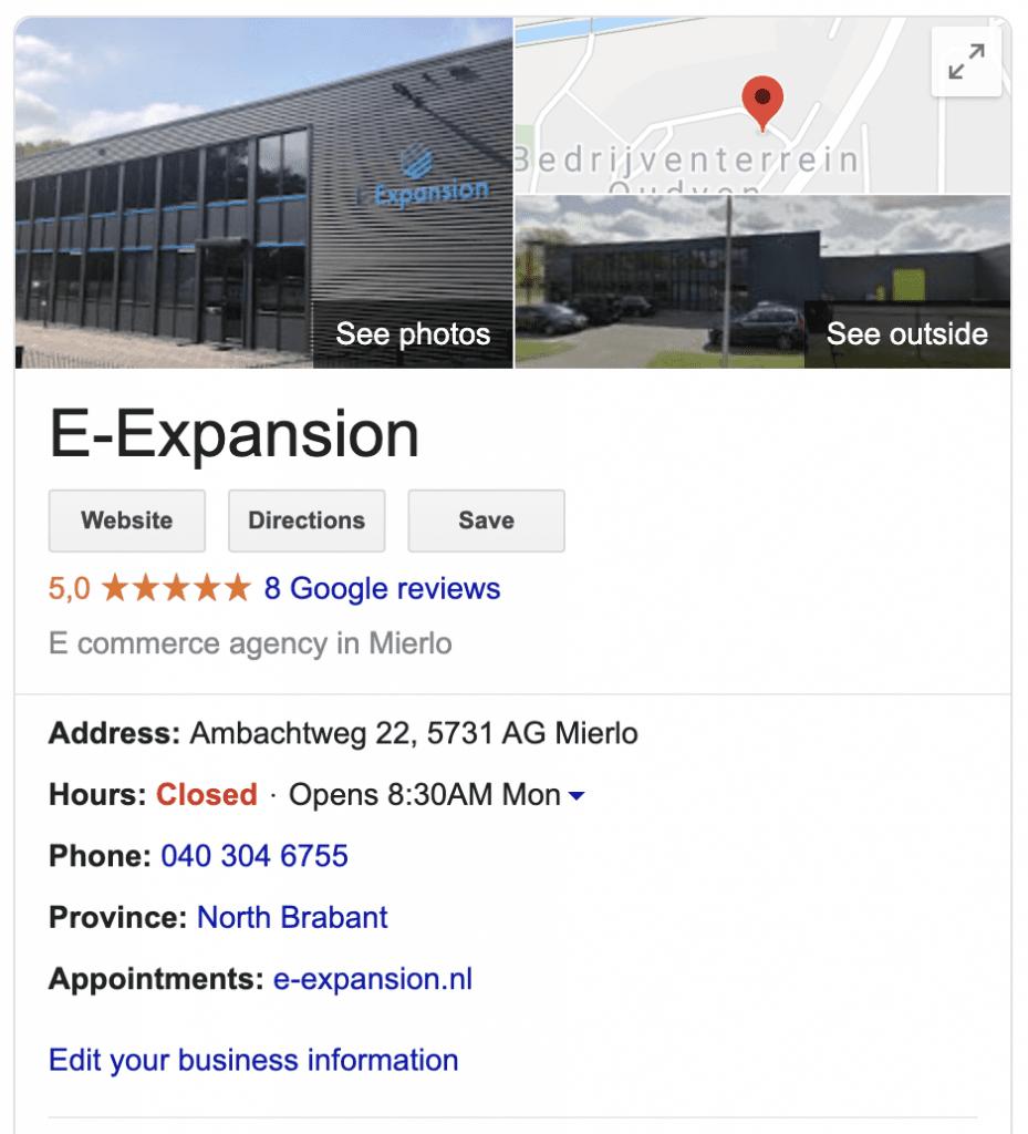 E-Expansion Google Mijn Bedrijf