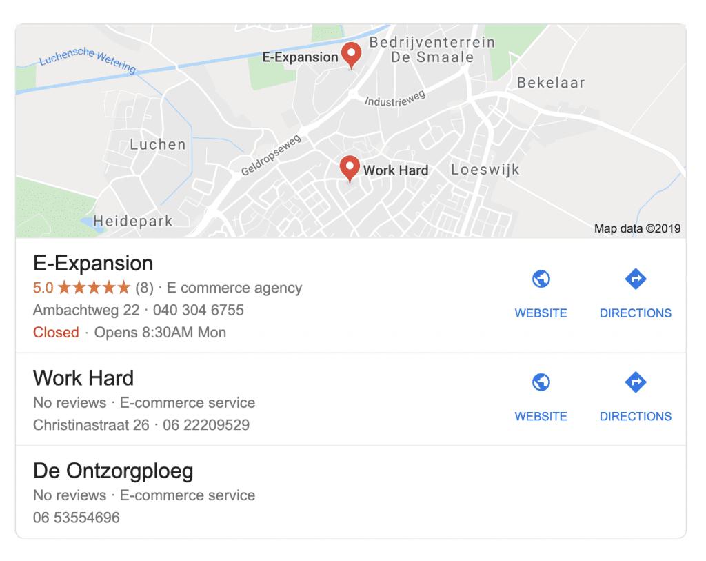 E-Expansion   Lokale resultaten